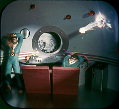 """1.4 """"A meteor pierces the hull of the polaris."""" (SnowSara) Tags: fiction toy 3d space 1954 science rocket spacecadet viewmaster reel tomcorbett stereopictures"""