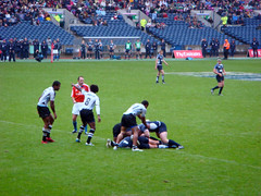 Action from Scotland versus Fiji, International Rugby Sevens, Murrayfield, Edinburgh