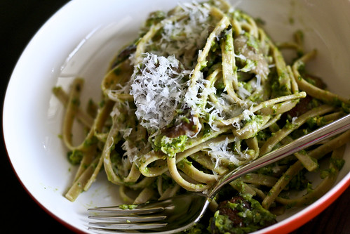 roasted asparagus & pistachio pesto over fettuccine
