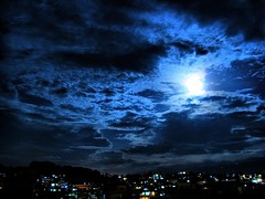Mourning Moon (` TheDreamSky) Tags: blue nepal sky moon night dark terrace grandpa kathmandu hdr joon dreamsky trackbacks  golddragon phopa junphopa