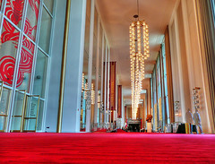 The Kennedy Center (` Toshio ') Tags: windows red man color architecture carpet design washingtondc stage columns performingarts mirrors bust national chandeliers depth hdr redcarpet kennedycenter toshio supershot thekennedycenter abigfave johnfkenndy