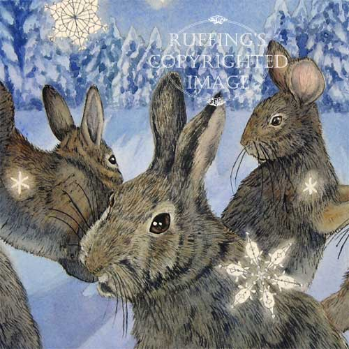 """The Rabbit Dances"" ER20 by Elizabeth Ruffing Watercolor Print of Rabbits in Snow"