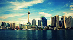 Toronto (feelings*) Tags: city blue red sky cloud lake toronto ontario canada reflection building green tower water yellow skyline clouds cn canon buildings landscape rebel islands boat downtown cityscape view over center line scape tdot cityline excellence supershot xti golddragon challengeyouwinner platinumphoto aplusphoto visiongroup frhwofavs ysplix overtheexcellence thebestofday gnneniyisi flickrlovers blogto99cents fshcqt