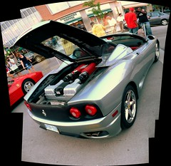 Ottawa Ferrari Fest 2008: A Ferrari 360 Spyder showing off its engine. (Steve Brandon) Tags: auto show city people autostitch ontario canada caf car collage composite geotagged restaurant spider automobile display corsoitalia ottawa 360 ferrari voiture spyder starbucks pedestrians modena littleitaly  ville sportscar fca barchetta  silvercar franchise f360 exoticcar   starbuckscoffee  italiancar   prestonst prestonstreet  ferrari360spider   ferrari360modena  ferrari360spyder  ferrari360modenaspider ruepreston   ferrariclubofamerica prestonsquare ferrari360modenaspyder