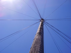 Cable spray (the_dan) Tags: summer up sunny bluesky cables wires telegraphpole
