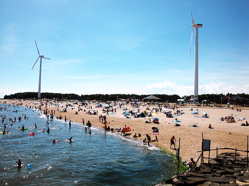 beach with wind turbines