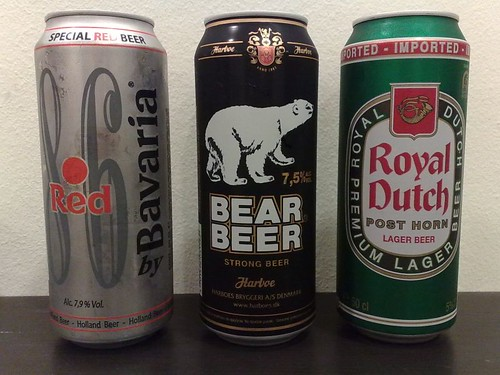 From left: Red 8.6 by Bavaria, Bear Beer, and Royal Dutch Post Horn Premium Lager