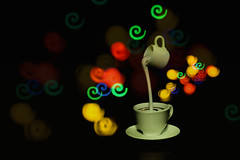 This is how we serve coffee at Cafe Bokeh (kktp_) Tags: coffee thailand toys milk nikon dof bokeh swirl rement 50mmf14d d80 creativeaperture ehbd hbwcontest2