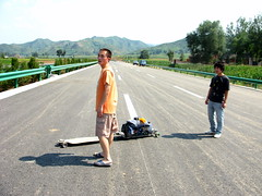 Chang Yong trying out the longboard rig near Shangzhou, Shaanxi Province, China