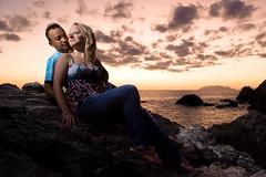 Engagement session (Nemez) Tags: sunset sea sky italy love beach clouds engagement couple flash sicily session isle isles sicilia eolie eolian strobist onestrobe