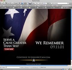 www.johnmccain.com on 9/11/2008