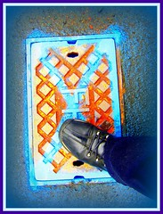 Got Diamonds under the soles of my shoes (indigo_girl) Tags: street urban diamonds walking grid boots turquoise x ellesse