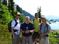 Group at saddle above Lake Ann