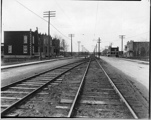 Unidentified street with railway tracks, Montreal, QC, 1920