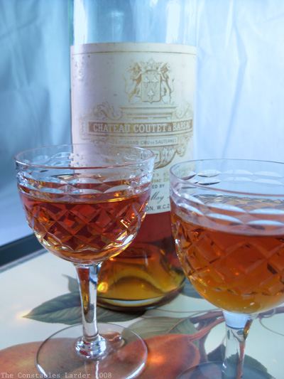 sauternes and glasses