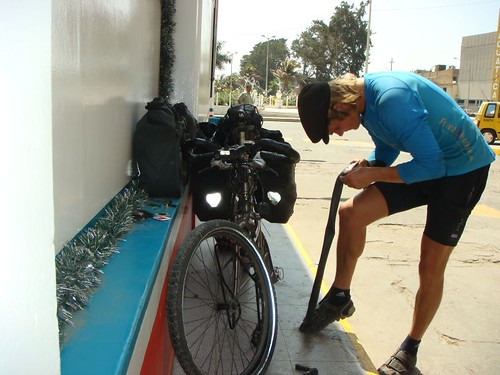 Fixing a flat in Chiclayo, Peru.