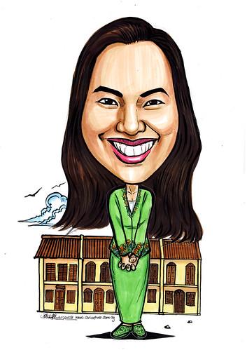 Lady caricarure Peranakan Nonya