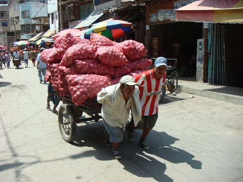 Onion carriers in Aguas Verdes on the Peruvian/Ecuadorian border...