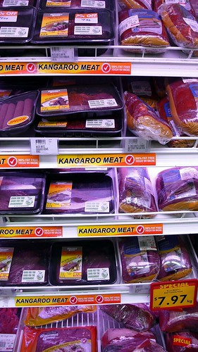 kangaroo meat in the market