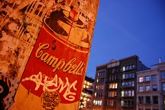 Campbell's (laverrue) Tags: nyc blue painting paint manhattan soho can popart streetartist andywarhol warhol gothamist bluehour campbells grandstreet sparay heurebleue bestofr theturntable whooster