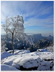 Keeping my promise:-) (clickiloz) Tags: winter sun snow beautiful germany view hiking elbe falkenstein lilienstein schsischeschweiz elbsandsteingebirge fantasticview mywinners concordians carolafelsen saxonsandstonemountains torsteine
