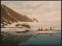 [View of Smeerenberg (i.e., Smeerenburg), Spitzbergen, Norway] (LOC) (The Library of Congress) Tags: mountain lake snow color water dutch norway boat cloudy canoe svalbard colorized rowing libraryofcongress whaling rowers spitzbergen hvalfangst photochrom smeerenburg xmlns:dc=httppurlorgdcelements11 walvisvaart walvisvaarders onephotoweeklycontest smeerenburgbreen dc:identifier=httphdllocgovlocpnpppmsc06219 noordschegroenlandsecompagnie noordsecompagnie compagnievanspitsbergen spekkbyen