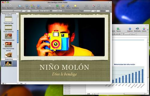 Captura de pantalla de iWork 09 con una foto de Dios bendiga al Niño molón y una gráfica de su molonicidad creciente