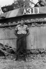 "Jerry in front of his LVT-4 ""Ruptured Platypus"" (mgsmith) Tags: soldier army blackwhite war pacific wwii okinawa 1945 jerrysmith lvt4 718thamphibioustractorbattalion amphibioustractor 718thamtracbattalion"