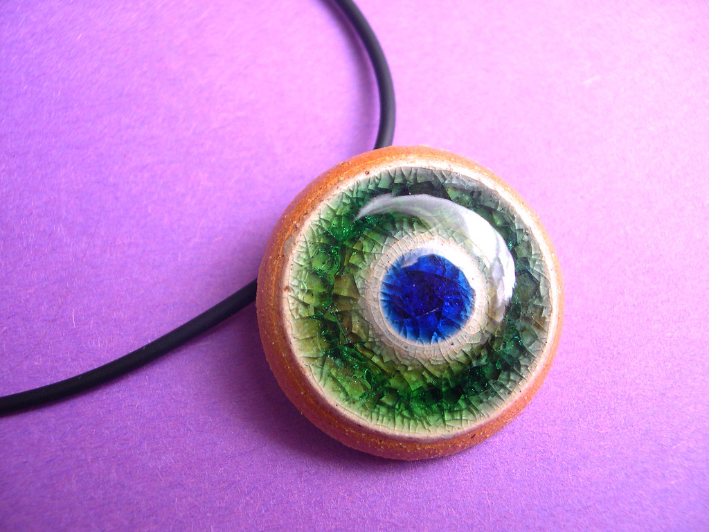 Wheel Thrown Stoneware Fused Glass Pin/Pendant Combo with necklace