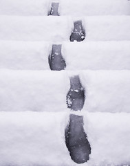 footsteps (Max Nathan) Tags: leica white snow black london steps minimal footsteps hackney e8 londonist