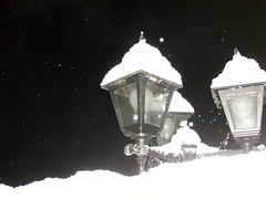 snowy lanterns (dandavie) Tags: winter light snow cold nature lamp night time snowy covered lantern