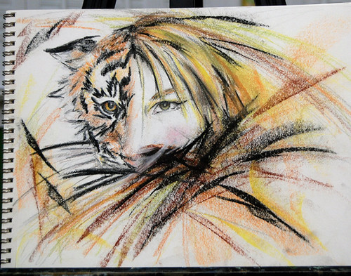 Tiger morph sketch by Kathleen Coy