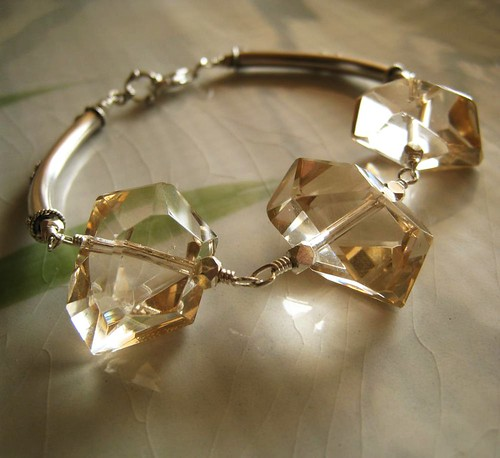 Luahoana - Champagne citrine net and sterling silver bracelet