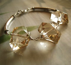 Luahoana - Champagne citrine nugget and sterling silver bracelet (kahilicreations) Tags: bali geometric yellow gold beige gray jewelry faceted bracelet ornate bold nugget sterlingsilver champagnecitrine