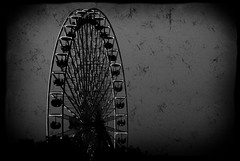 Ferris wheel b&w (manganite) Tags: sky bw white black texture nature wheel digital photoshop vintage germany dark de geotagged blackwhite big nikon europe bonn mood tl framed grain ferris overlay frame ferriswheel d200 grainy nikkor dslr noise vignette noisy textured rheinaue lightroom rheininflammen northrhinewestphalia structured nikond200 130sec 18200mmf3556 manganite f53 filterforge iso450 date:day=2 silverefexpro date:year=2009 geo:lon=7145233 format:ratio=32 format:orientation=landscape date:month=mai geo:lat=50707975 130secatf53 stadtgetty2010
