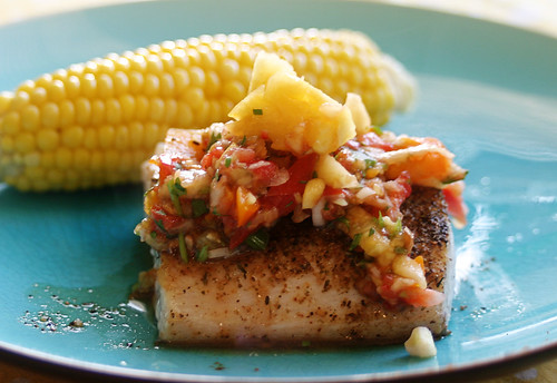 Blackened Mahi Mahi with Fruit Salsa and Corn on the Cob