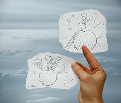 Pencil Vs Camera - 23 (Ben Heine) Tags: life voyage above travel brussels flower art love scale smile rose angel clouds plane paper children stars sketch heaven hand heart belgique wind unique space ange bruxelles coeur foundation story illusion together amour planet disabled histoire littlegirl series astronomy ladder antoinedesaintexupry shan conceptual handicap discovery enfant sourire bonheur cosmos astrology connection journalism lepetitprince asteroid toiles thelittleprince treatment institution amnestyinternational chelle plante angelmansyndrome bedifferent dessinemoiunmouton thelittleprincess benheine drawmeasheep drawingvsphotography projetpilote pencilvscamera imaginationvsreality fondationshan happinesssyndromedangelman neurogeneticdisorder happypuppetsyndrome