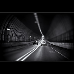 Tunnel Tilt [Explored] (Dkillock) Tags: bw white david black cars ex monochrome 35mm canon eos miniature dof open bokeh mark f14 wide fake 85mm shift sigma tunnel full ii frame 5d nik fullframe tilt dg mkii wideopen tiltshift hsm fakeminiature efex killock 5dmarkii 5d2 silverefexpro 5dmkii dkillock davidkillockphotography sigma85mmf14exdghsm