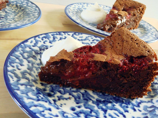 gluten free chocolate-raspberry mousse cake