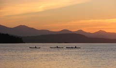 Kayakers at sunset, Gulf Islands, cropped (tasiapix) Tags: ocean sunset canada boats twilight britishcolumbia pacificnorthwest gulfislands kayaks challengeyouwinner anawesomeshot platinumheartaward