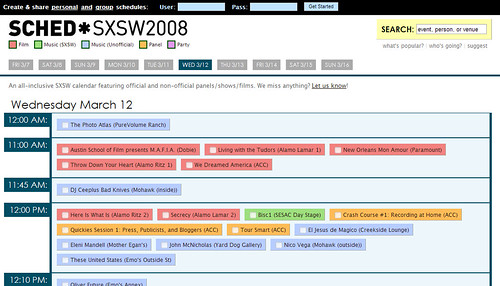 SCHED: The SXSW Scheduler