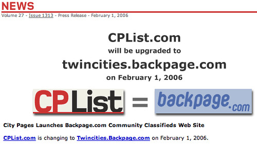 Citypages = Backpages