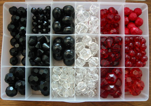 vintage beads for earrings - black white + red
