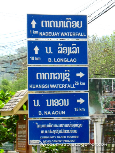 road sign to kuang si fall