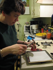 IMG_2659  Laura soldering her first microscope slide pendants