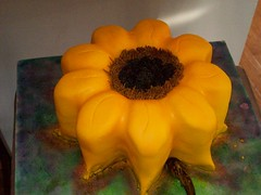 Sunflower Cake! (TabbyCake) Tags: cakes yellow tabby sunflower fondant spellbound