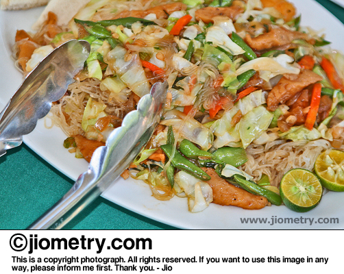 Tasty pancit bihon cooked by the attending restaurant staff