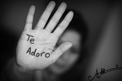 Te Adoro  (A.A.A) Tags: world blackandwhite bw white 3 black detail macro love canon photography friend hand modeling mark united iii details spanish notme iloveyou language aaa amna irresistible eos1ds  teadoro althani canoneos1dsmarkiii amnaaalthani dedicatedtonas magoush