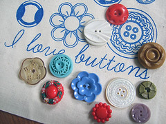 I Love Buttons drawstring bags