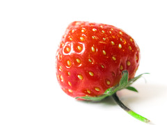 Strawberry on white (maapu) Tags: uk summer england white macro fruit festive season spring strawberry powershot um pointandshoot onwhite strawberrypicking twtme maapu mauroof mauroofkhaleel canong9